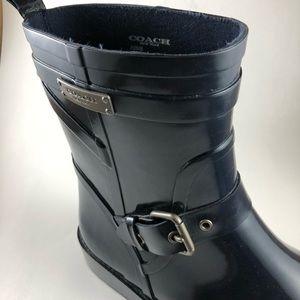 Coach Lester Navy Rain Boots Sz. 10